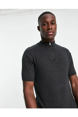 Topman Knitted turtle neck polo in charcoal-Grey