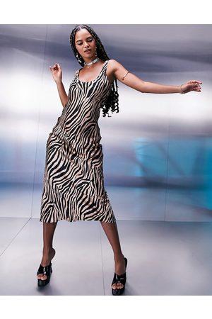 ASOS Scoop neck midi satin slip dress in animal print-Multi