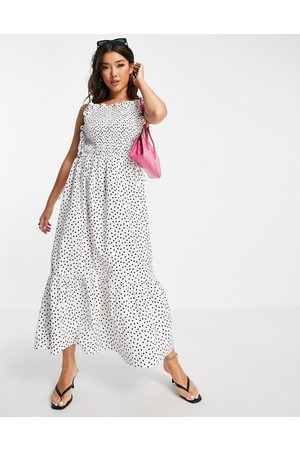 ASOS Shirred bodice cotton midi smock sundress in mono spot print-Multi