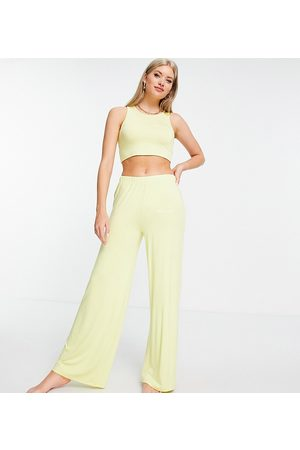 Missguided Crop top and wide leg trouser embossed pyjama set in yellow-Green