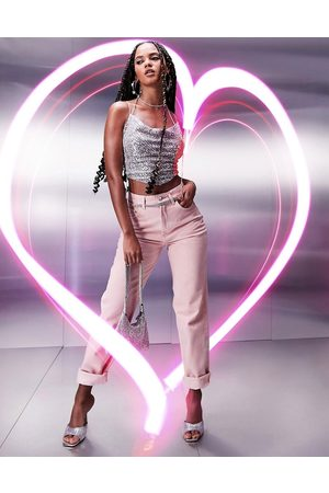 ASOS High rise 'slouchy' mom jeans in pink