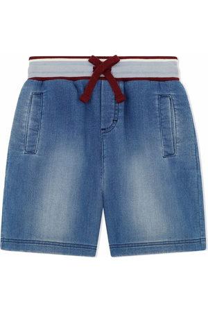 Dolce & Gabbana Logo-patch drawstring-waist denim shorts