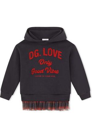 Dolce & Gabbana Tartan-trim stretch-cotton hoodie