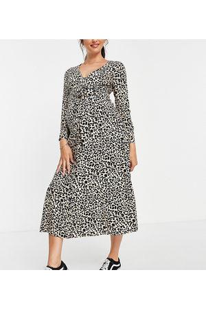 ASOS ASOS DESIGN Maternity Exclusive tie waist button through midi dress in natural animal print-Multi
