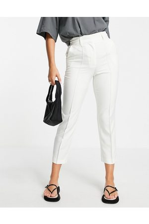 ASOS DESIGN Tailored smart mix & match cigarette suit trousers in ivory-White