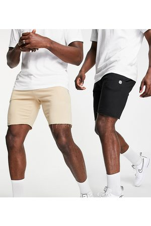 Le Breve 2 pack raw edge jersey shorts in black & burgundy