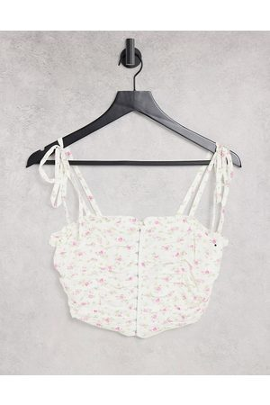 ASOS DESIGN Ruched front cami with hook and eye detail in white and pink floral print-Multi
