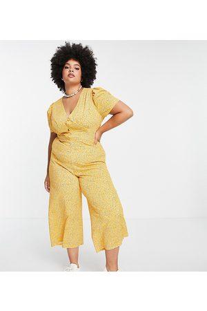 ASOS Damen Jumpsuits - ASOS DESIGN curve tea jumpsuit in mustard floral-Multi