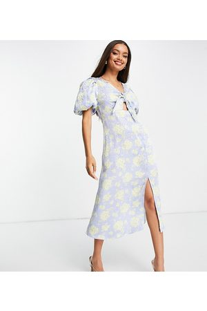 River Island Floral print tie front midi dress in blue