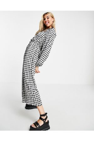 ASOS Shirred waist square neck jumpsuit in gingham-Multi