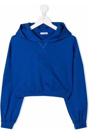 Dolce & Gabbana Mädchen Shirts - Logo-debossed cropped hoodie