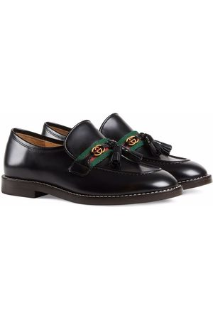 Gucci Web-stripe leather loafers