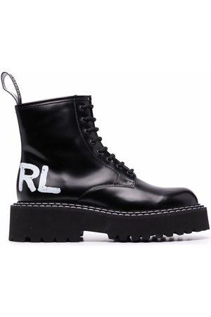 Karl Lagerfeld Damen Schnürstiefel - Logo-print lace-up boots