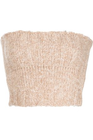 Cult Gaia Purl-knit bandeau knitted top