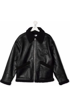 MM6 KIDS Mädchen Lederjacken - Logo-embroidered faux-leather biker jacket