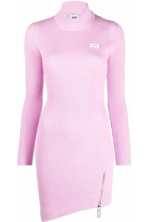 GCDS Damen Asymmetrische Kleider - Ribbed knit asymmetric hem dress
