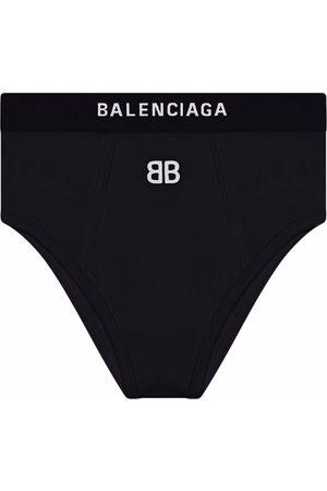 Balenciaga Damen Slips - Logo-embroidered sports briefs