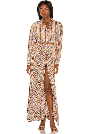 Free People Sadie Plaid Maxi Dress in - Blush. Size L (also in M, S, XL, XS).