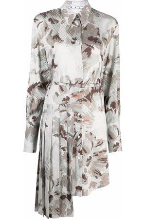 Off-White Damen Asymmetrische Kleider - Asymmetric floral shirtdress