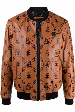 Philipp Plein Monogram-print leather bomber jacket