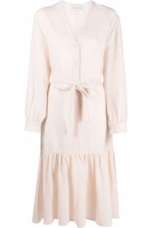 FORTE FORTE V-neck belted midi dress