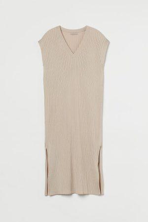 H&M Damen Strickkleider - Geripptes Strickkleid