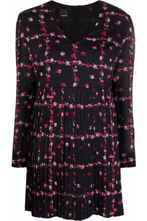 Pinko Damen Freizeitkleider - Floral-print pleat-detail dress