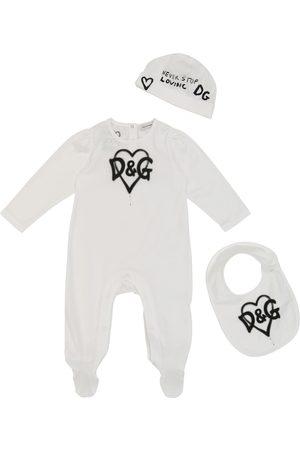 Dolce & Gabbana Outfit Sets - Baby Set aus Strampler, Mütze und Lätzchen