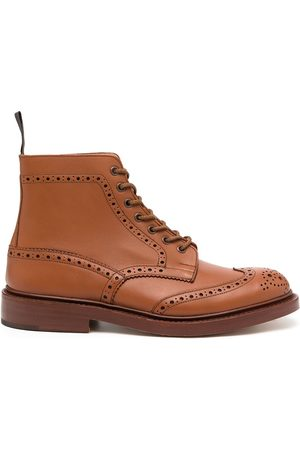 TRICKERS Antique brogue-detail leather boots