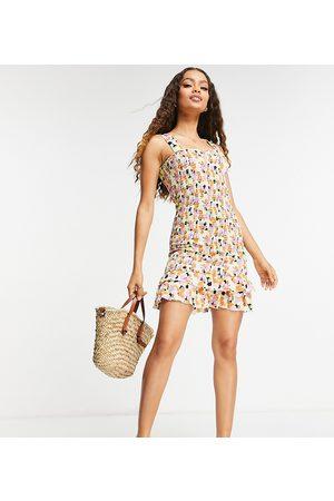 Pieces Damen Bedruckte Kleider - Shirred mini dress in pastel abstract print-Multi