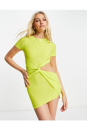 ASOS Bodycon mini dress with exposed hip detail in lime-Green