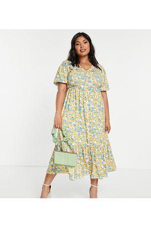 In The Style Damen Bedruckte Kleider - X Stacey Solomon tiered midi dress in yellow floral-Multi