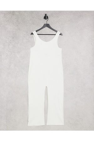 Monki Damen Jumpsuits - Sara cotton ribbed jersey cami jumpsuit in off white