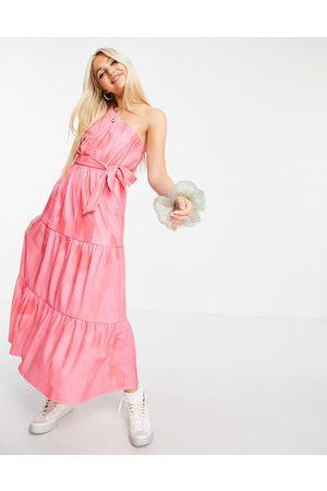 ASOS Damen Asymmetrische Kleider - One shoulder belted midi dress in pink abstract print