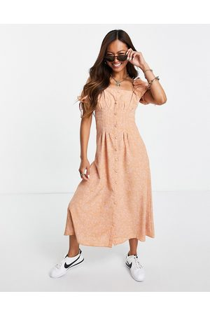 Fashion Union Midi tea dress with waist detail in bandana print-Pink