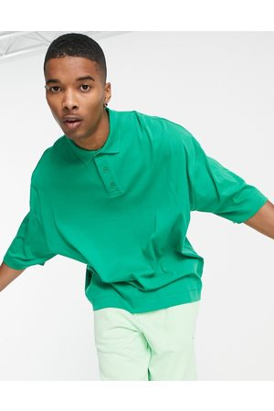 ASOS Herren Poloshirts - Oversized heavyweight polo with deep placket in bright green