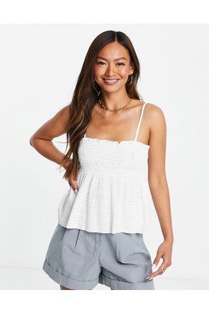 MANGO Strappy camisole top in white