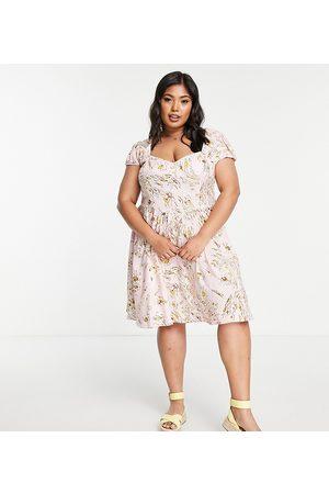 ASOS ASOS DESIGN Curve 90s mini tea dress in pink floral print-Multi