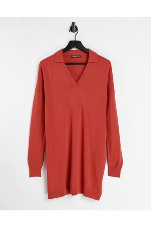 Threadbare Bethany polo neck knitted dress in ginger spice