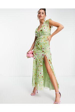 ASOS Bias cut frill detail maxi tea dress in green floral print-Multi