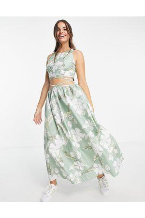 ASOS Damen Bedruckte Kleider - Cotton poplin tie wrap around midi sundress in tropical print-Multi