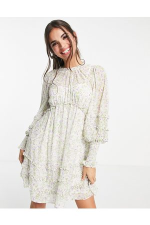 Forever New Ruched sleeve frill tea dress in lilac dreamcatcher print-Multi