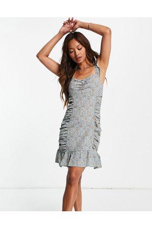 Urban Threads Damen Bedruckte Kleider - Ruched side mini dress in ditsy floral-Multi