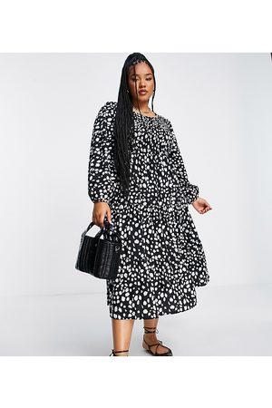 Yours Damen Freizeitkleider - Balloon sleeve shirred midi dress in black animal print