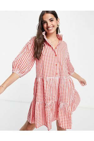 Monki Sosso mini smock dress in red gingham print