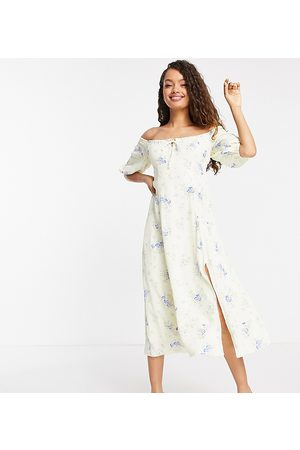 Forever New Off shoulder tea midi dress in ditsy yellow floral