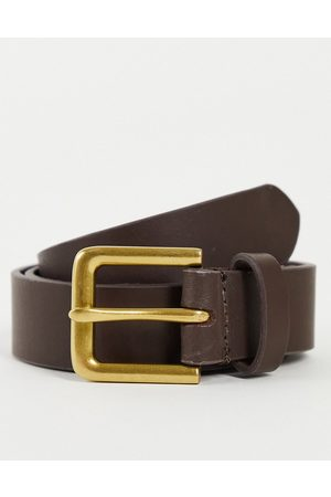 ASOS Leather slim belt in brown with antique gold buckle