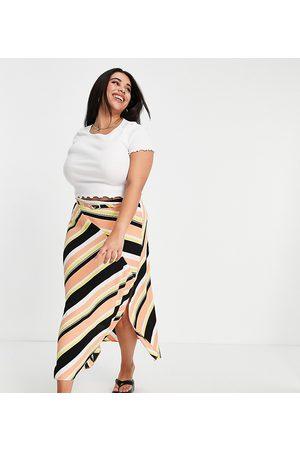 ASOS ASOS DESIGN Curve wrap midi skirt with d ring in stripe print-Multi