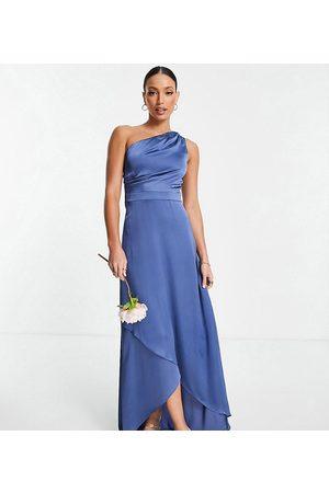 TFNC Damen Asymmetrische Kleider - Bridesmaid one shoulder maxi dress in charcoal-Grey