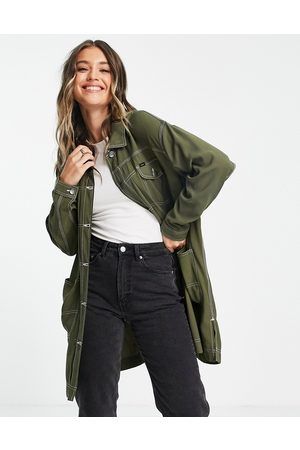 Lee Lee elongated duster denim coat with contrast stitching in olive green